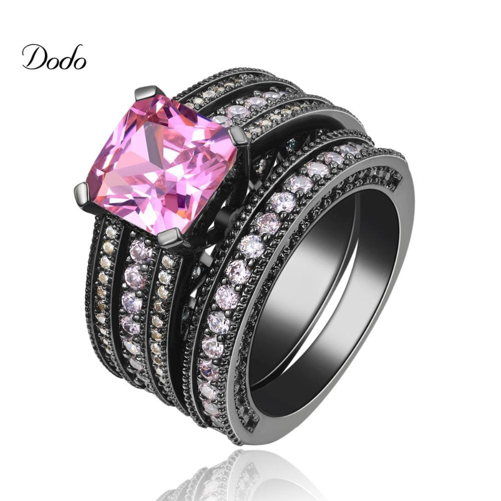 Punk Black gold color Vintage Wedding Ring Sets For Women pink stone Fashion Party rings Women Jewelry Trendy bague femme DR116 - EM