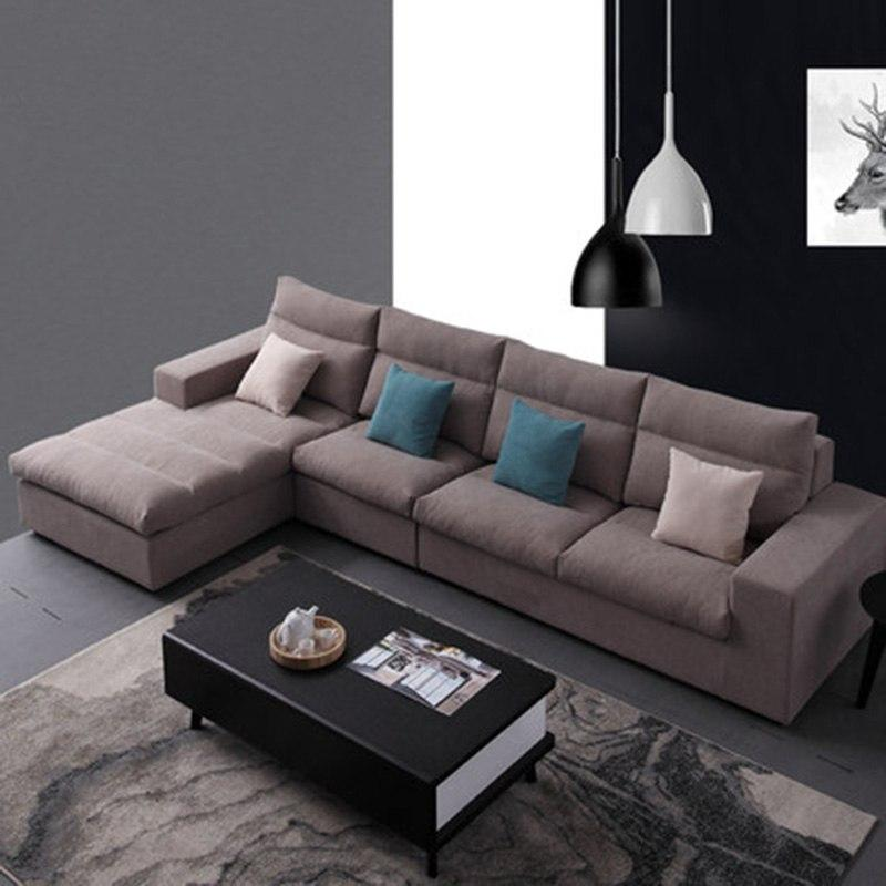 Simple and modern Nordic fabric living room corner size can be demolished and washed latex sofa - EM