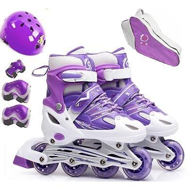 10 in 1 Set Inline Professional Women Adult Kids Slalom Sliding Ice Skates Skating Shoes Adjustable PU Wheels Patines He'l'me't