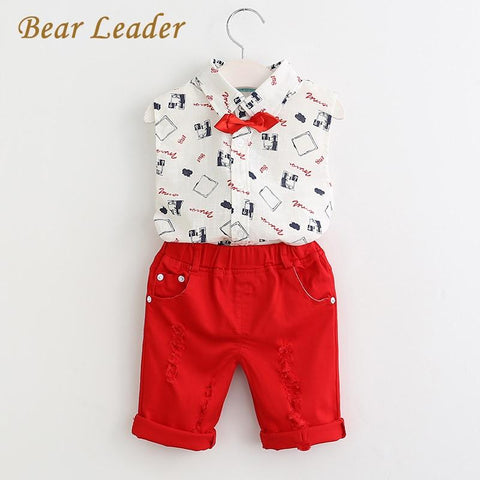 Bear Leader Boys Clothing Sets 2018 New Spring Fashion Style Kids Clothing Sets Print Shirt+Red Pants+Belt 3Pcs for Boys Clothes - EM