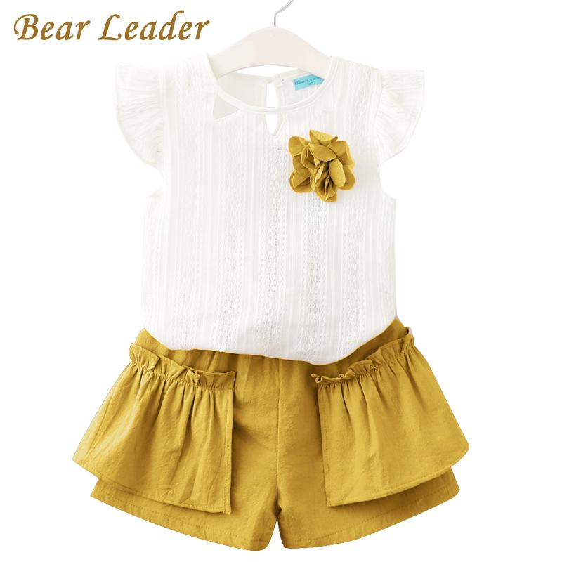 Bear Leader Girls Clothing Sets 2018 New Summer Clothing Sets Kids Clothes  Flo Printed T-Shirt+Pants 2Pcs Suit For 2-6 Years