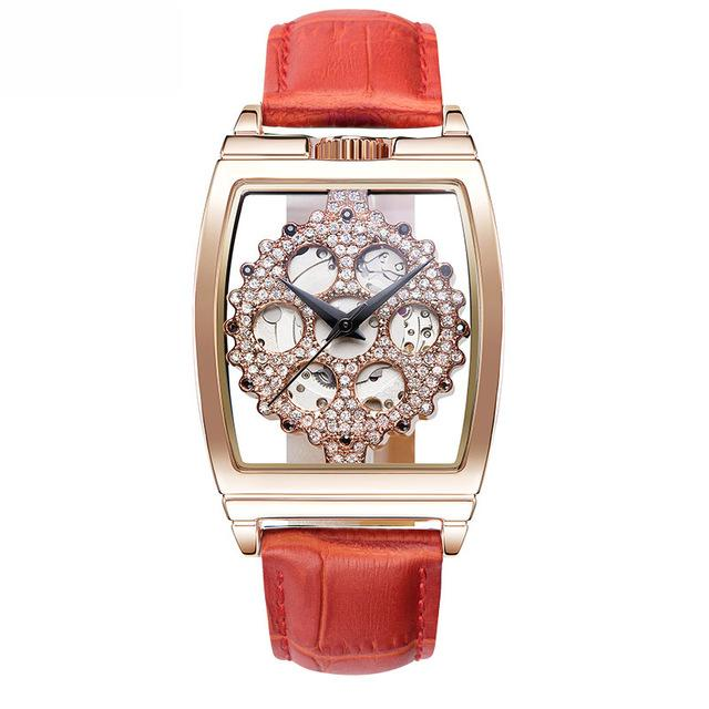 Reloj Mujer New Hollow Watches Woman Automatic Mechanical Watch Ladies Leather Bracelet Waterproof Watch Top Brand Luxury Clock - EM