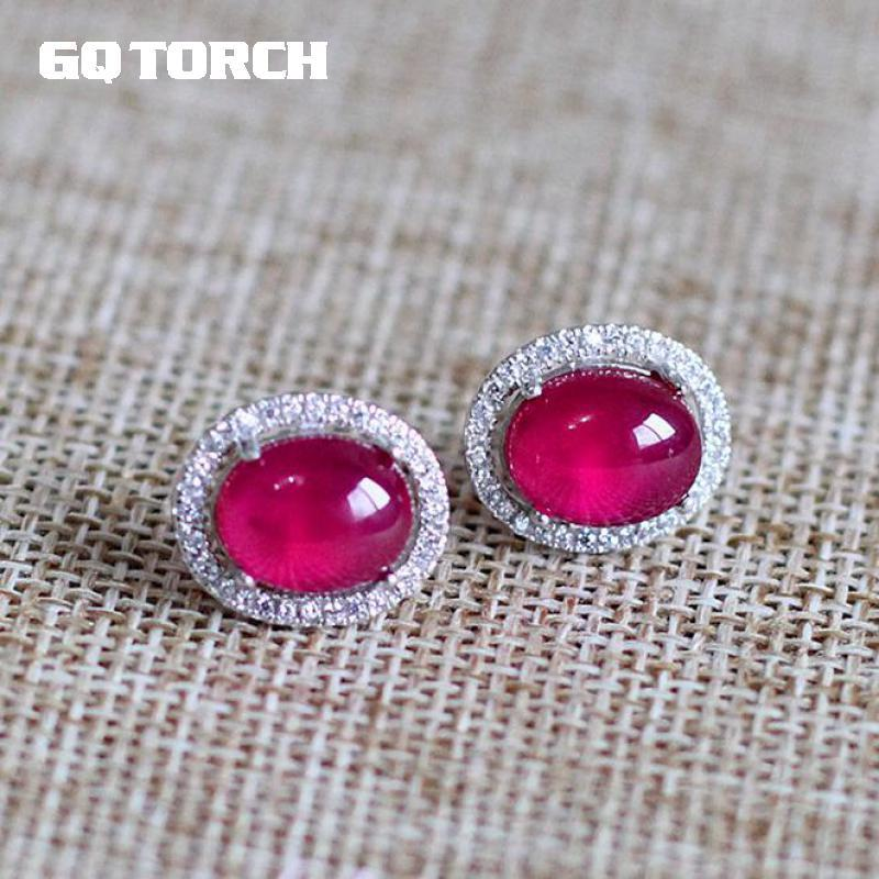 GQTORCH 925 Sterling Silver Red Ruby Woman Earrings Boucle D'oreille Femme 2017 High Quality Jewelry Bijoux Mariage