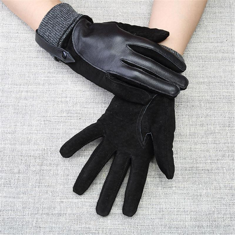 2018 New High Quality Fashion Women Genuine Lambskin Leather Patchwork Gloves Autumn And Winter Female Glove  057 - EM