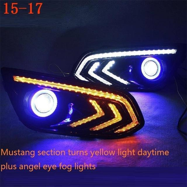 Automobiles Side Turn Signal Drl Neblineros Led Para Auto Assessoires Car Lighting Headlights Front Fog Lights For Ford Escort - EM