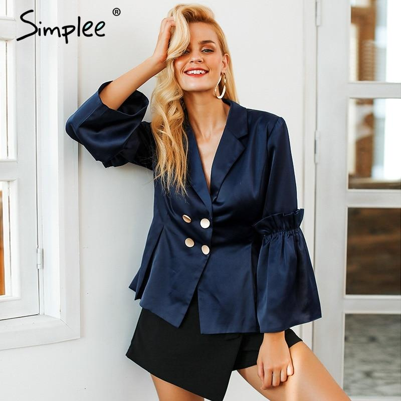 Simplee Flare sleeve double breasted suit Ruffles splice women blaser vintage V neck autumn winter coat office lady 2018 - EM
