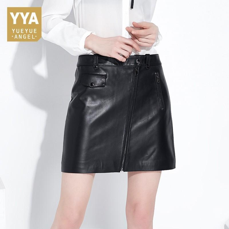 Fashion Summer Office Ladies Sexy Short Style Mini Skirt Harajuku Zipper Punk Genuine Leather Jupe Femme Bodycon Pencil Skirts - EM