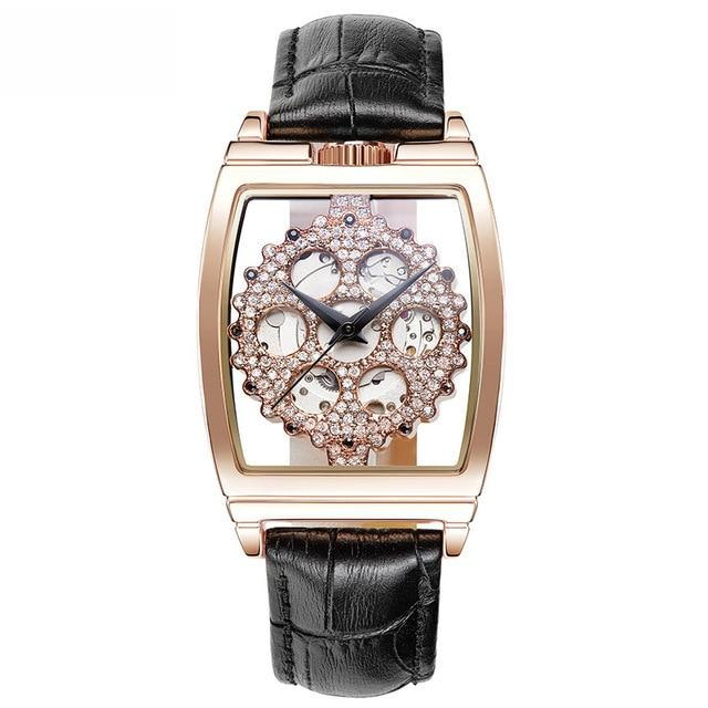New Hollow Automatic Mechanical Watch Woman Full Diamond Fashion Watch Ladies Leather Bracelet Waterproof Clock Top Brand Luxury - EM