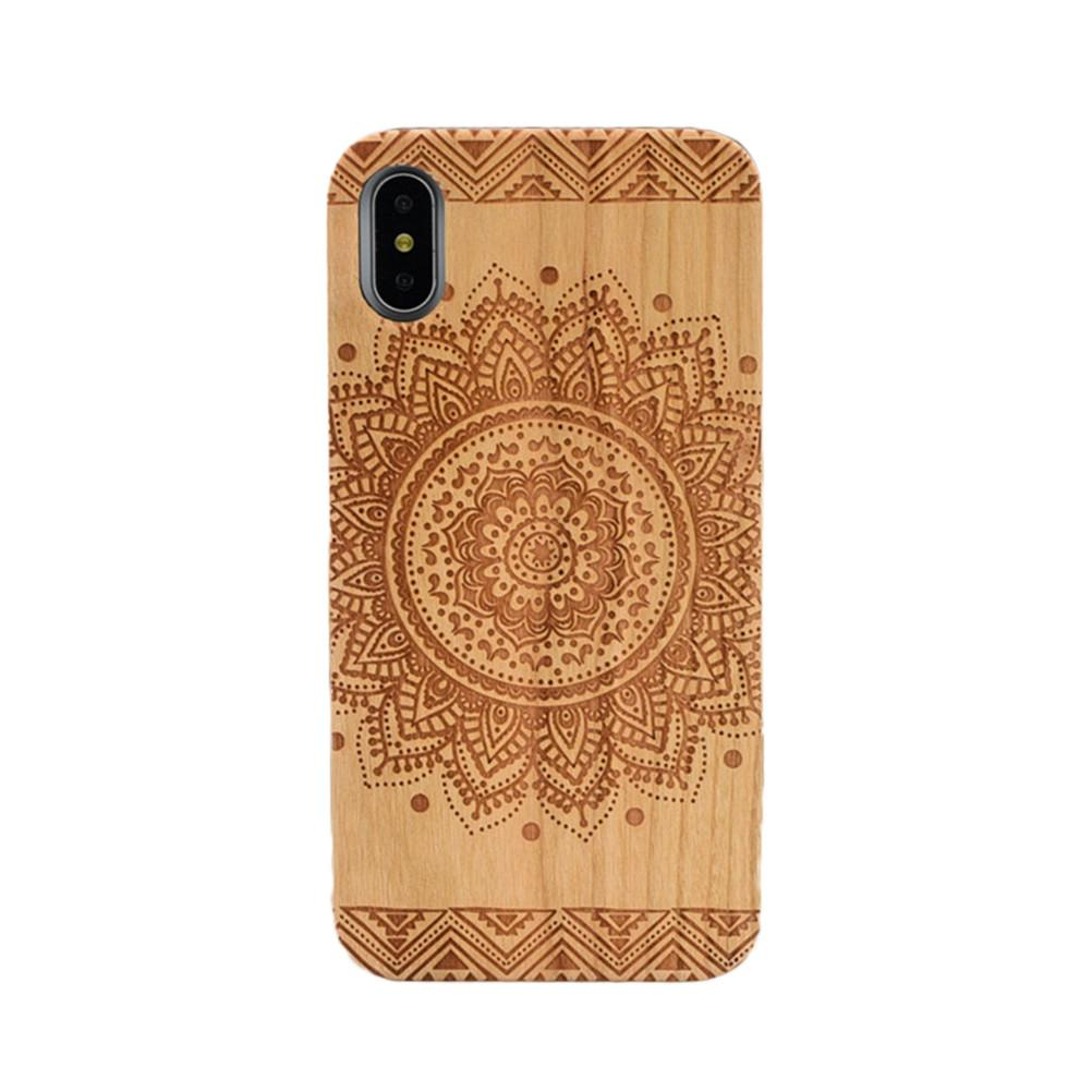 Ultra Slim Natural Wood Engraving Hard Back Cover for Apple iPhone X - EM