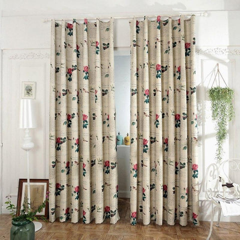 colorful Blackout Curtains For Living Room Bedroom Blinds Window Luxury Curtains Flower Bird Printed Cortina Rideau Punching
