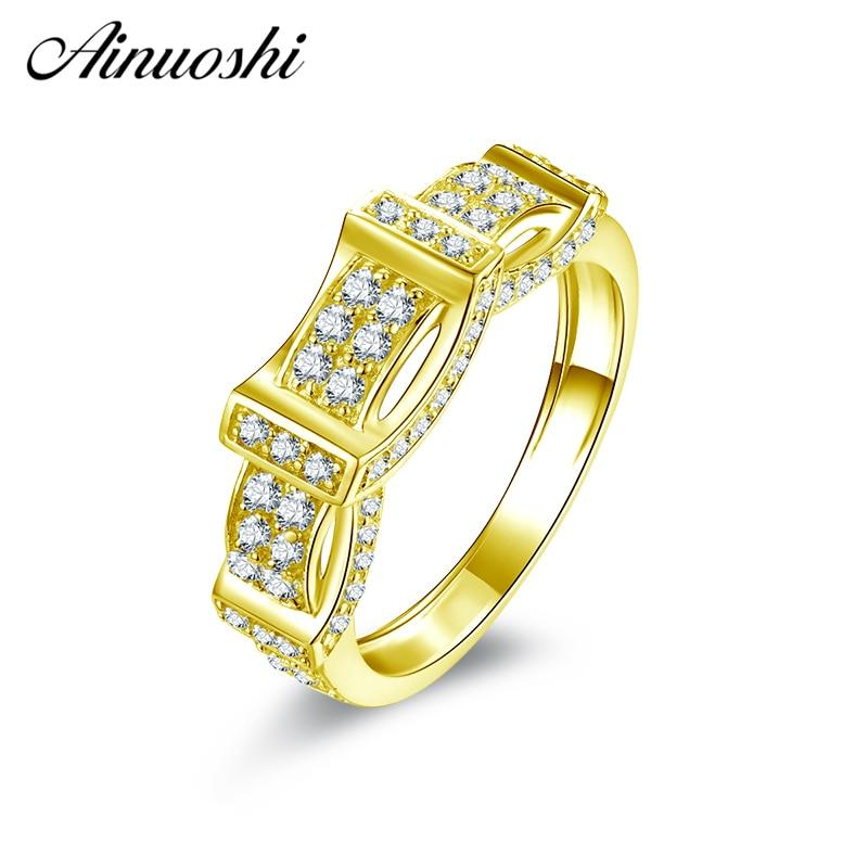 AINUOSHI 10K Solid Yellow Gold Wedding Band Vintage Retro-Pattern Cluster Ring Bague Anillos Engagement Jewelry for Female Male - EM