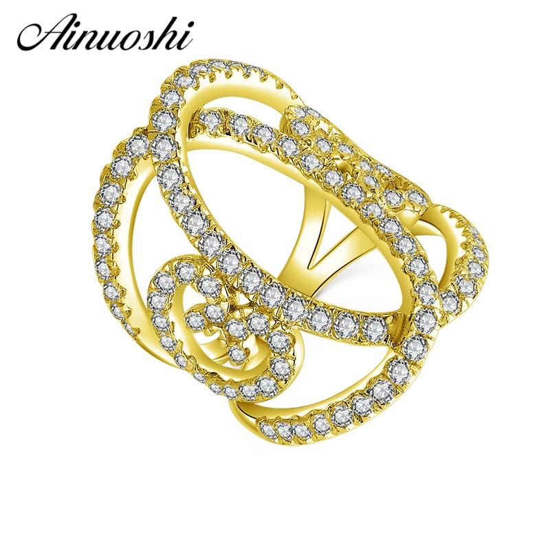AINUOSHI 10K Solid Yellow Gold Heart Hollow Band Cluster Twisted Bague Bridal Ring Wedding Engagement Ring Jewelry for Women Men