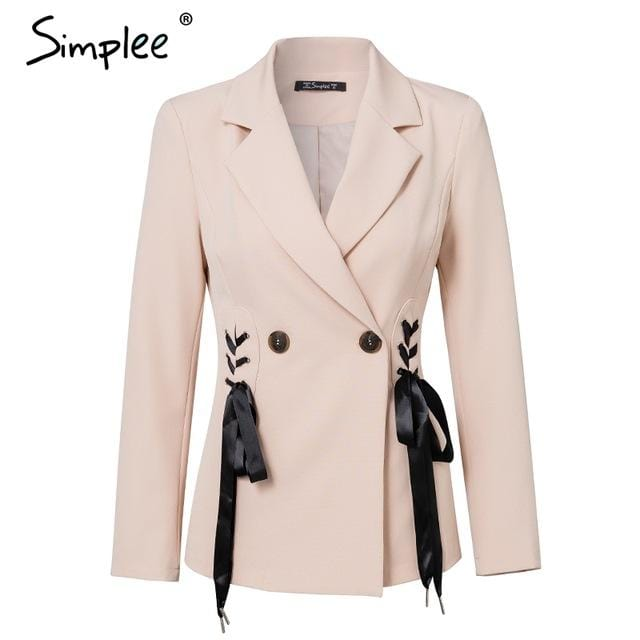 Simplee Autumn OL double breasted suit coat Elegant side tie up cool winter outwear V neck short coat office lady 2018 - EM