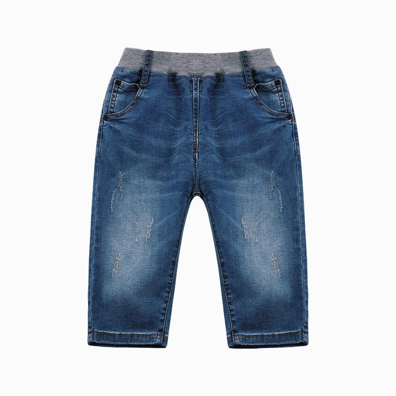 2018 Fashion Kids Blue Jeans Baby Boys Summer Letter Braid Denim Pants Children Clothes Infantil Cropped Trousers Enfant Menina - EM
