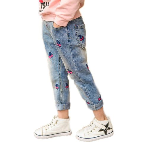 kids jeans girls 2018 new arrival baby boy denim jeans cherry printed jeans pants for girls casual straight enfant trouser 2-11T - EM