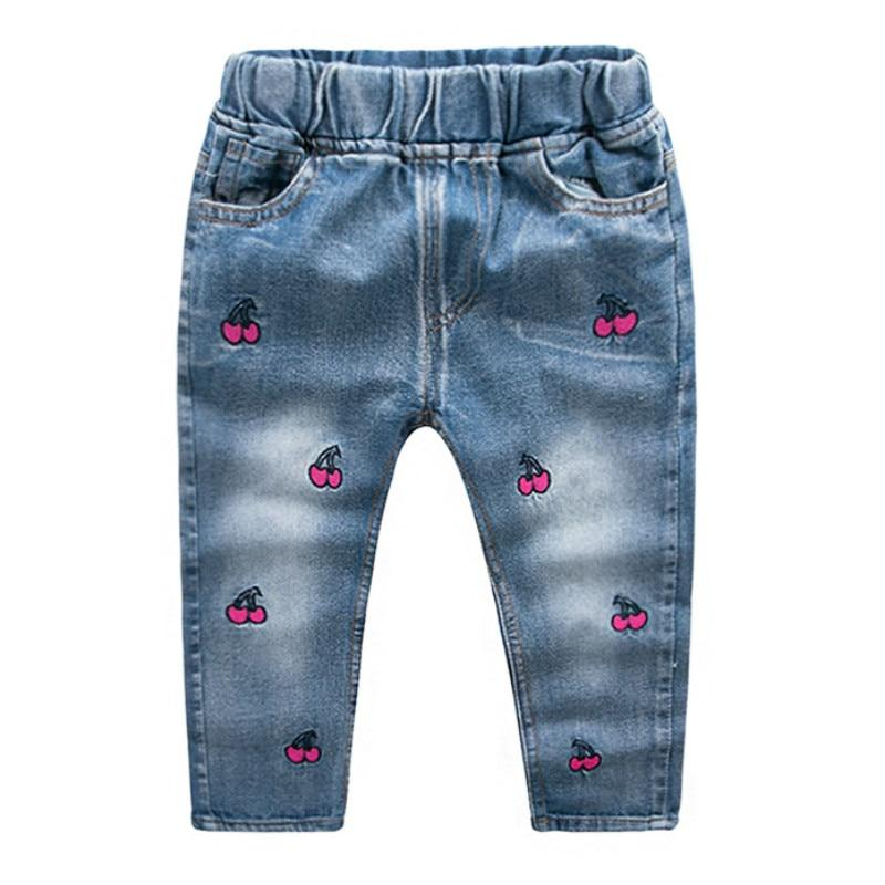 2018 New Kawaii Embroidered Cherry Jeans Girls Cotton Denim Soft Leisure Elastic Waist Trousers Vetement Enfant Fille 2 3 4 5 6 - EM