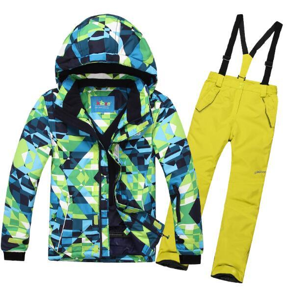 PHIBEE Winter Fleece Warm Ski Suit Boys Waterproof Mountain Skiing Jacket Coat + Bib Pants Children Kids Snowboard Snow Clothing - EM