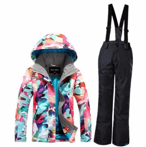 Authentic Gsou Snow Children Ski Suit Color Camouflage ,Girls Jacket+Pants Kids Free Shipping  Windproof Waterproof - EM