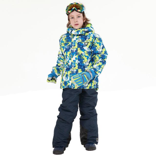 ... Mioigee 2018 Kids Ski Suits for Boys Waterproof Windproof Skiing Jacket  Pant Winter Thermal Snowboard Sets ... a4bd1c227