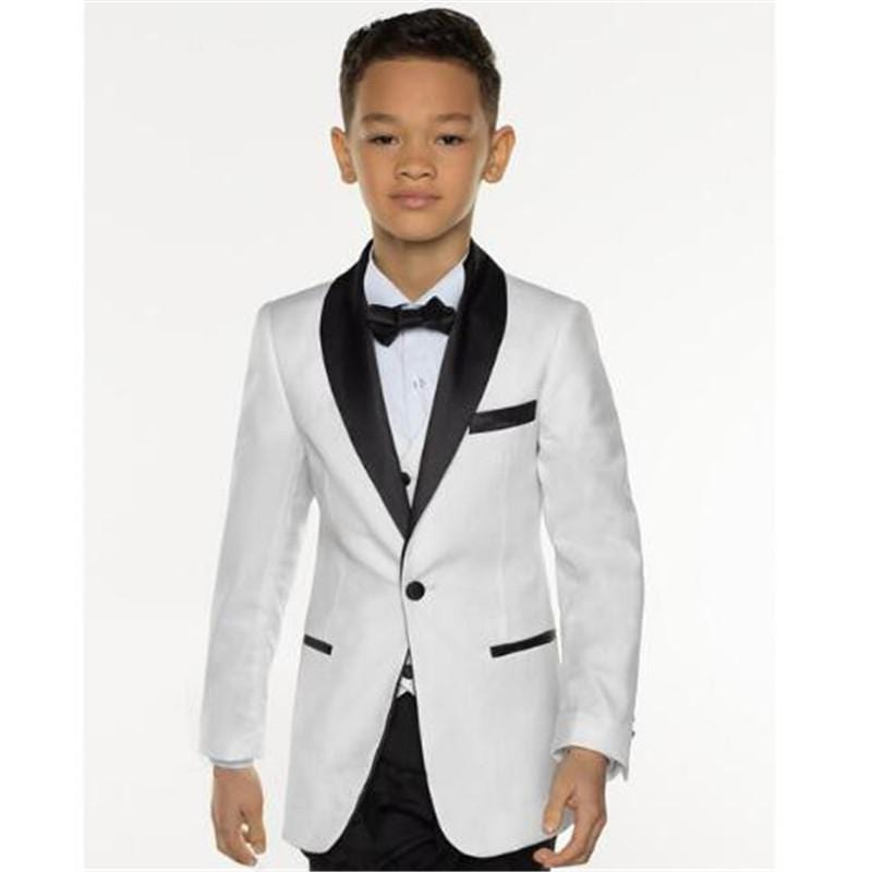 2018 Costume Homme White Boy Suit 3Pieces(Jacket+Pant+Vest+Tie) Groom Prom Terno Masculino Trajes De Hombre Kids Suit Set - EM