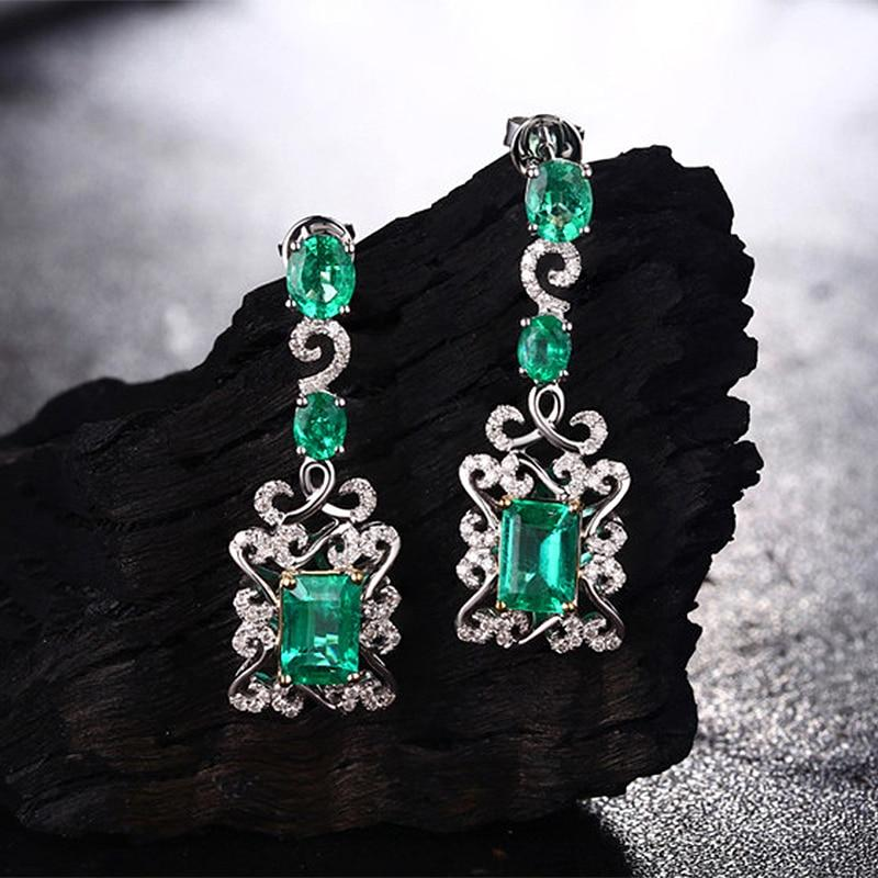 Caimao 14K Multi-Tone Gold 2.72CT Natural Emerald and Diamonds Engagment Dangle Earrings for Women - EM