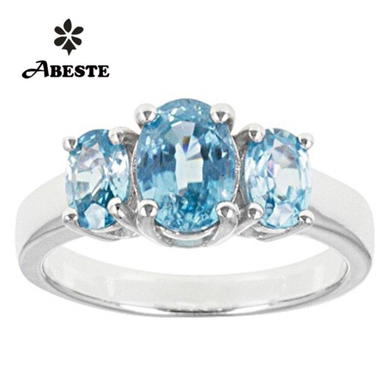 ANI 18K White Gold (AU750) Women Wedding Ring 1.2ct 3 Oval Cut Natural Blue Zircon Fine Jewelry Enagement Gemstone Bague Female - EM