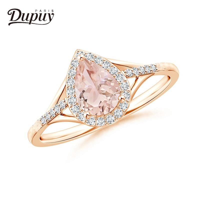 Dupuy 2018 Engagement Ring Fashion Diamond Jewelry Ring Women Rose Gold 0.11ctMorganite Wedding Ring Bague De Mariage D180073 - EM