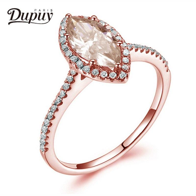 Dupuy Classic Diamond Ring 0.23ct With 1.4ct Morganite 5.5*11mm Marry Ring Gift For Women Fine Jewelry Bague En Diamant D180068 - EM