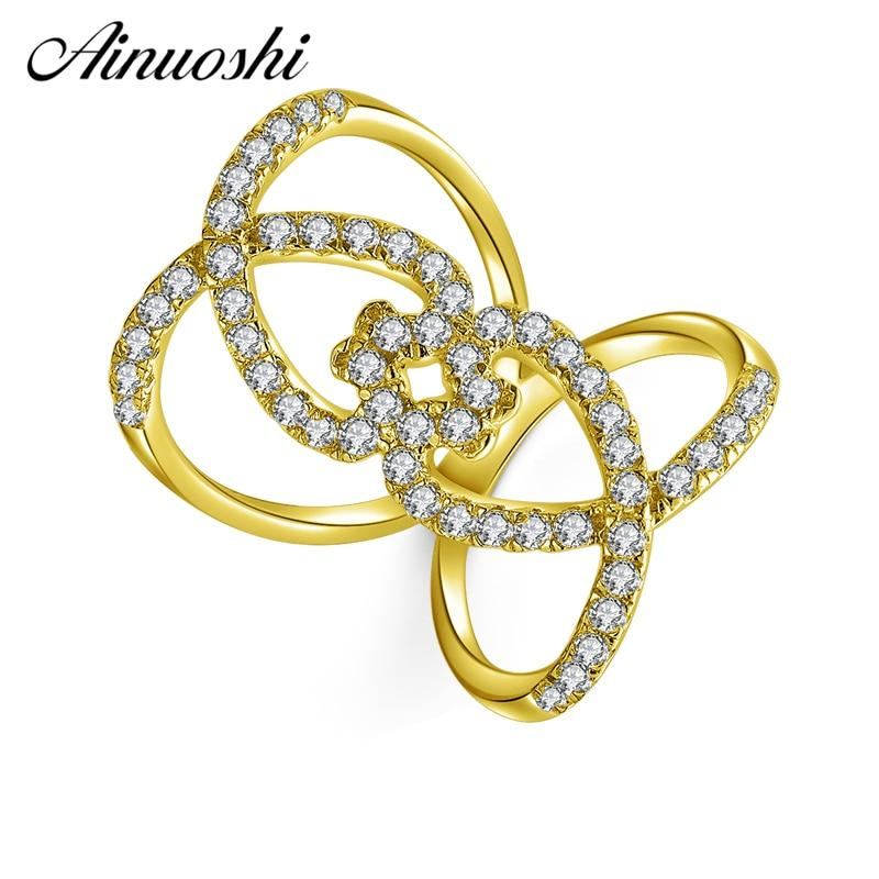 AINUOSHI 10K Solid Yellow Gold Twisted Band Cluster Weaving Bague Bridal Ring Wedding Engagement Ring Jewelry for Women Male - EM