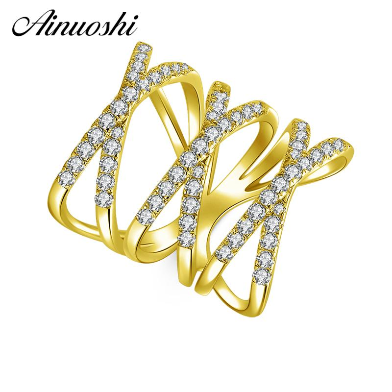 AINUOSHI 10K Solid Yellow Gold X Shape Weaving Ring Band Row Finger Hollow Ring Bague Wedding Engagement Jewelry for Women Men - EM