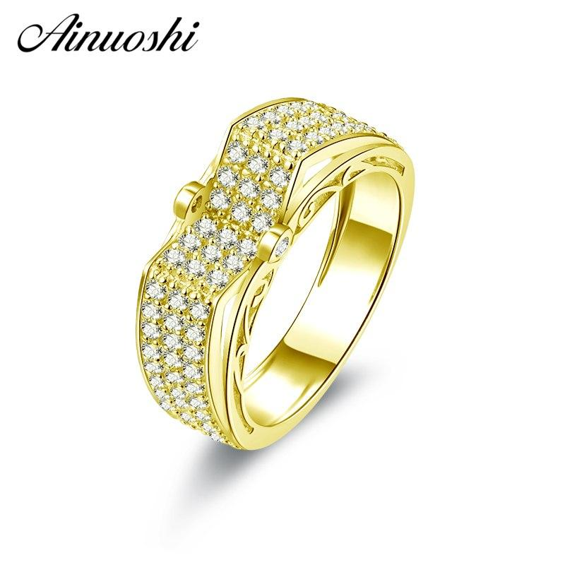 AINUOSHI 10K Solid Yellow Gold V-Shaped Wedding Band 3 Rows Drill Cluster Ring Bague Anillos Engagement Jewelry for Female Male - EM