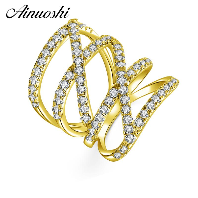 AINUOSHI 10K Solid Yellow Gold Line Weaving Band Cluster Twisted Bague Bridal Ring Wedding Engagement Ring Jewelry for Women Men - EM