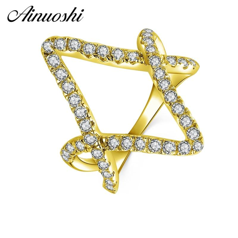 AINUOSHI 10K Solid Yellow Gold Diamond Shape Ring Band Double V Shape Hollow Ring Bague Wedding Engagement Jewelry for Women Men