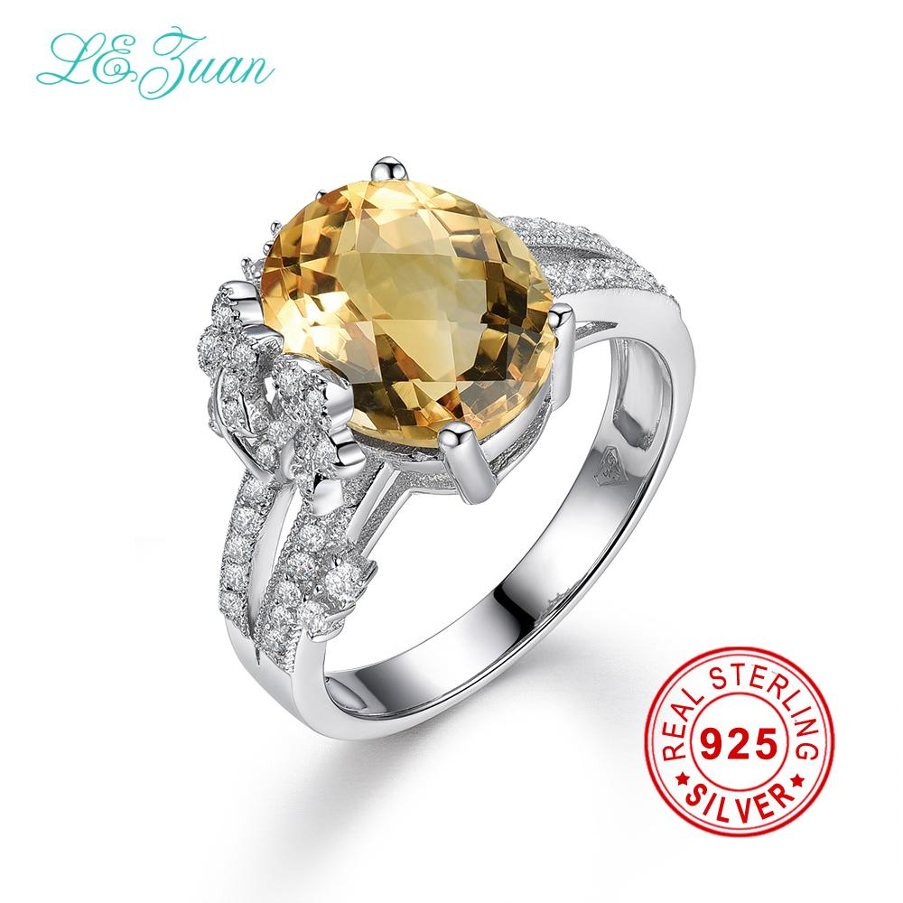 I&zuan 4.75ct Natural Citrine Rings Real 925 Sterling Silver Jewelry Luxury Ring For Women bague diamant tardoo Ring - EM