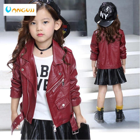 children's pu jacket Girls motorcycle jacket kid outwear solid color Zipper belt Faux Leather spring Autumn fashion pu jacket - Express Monde