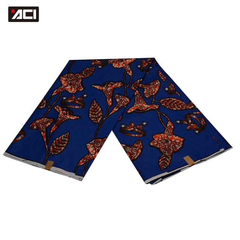 ACI Blue Color Daviva Fabric Flowers African Wax Prints Fabric Super Wax Hollandais Nigeria Fashion Pagne African Wax 6 Yards - EM