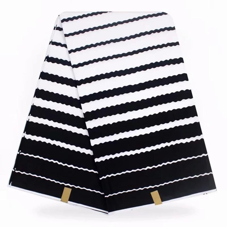 White & Black Strip SUPER Wax Print,African Fabrics Kitenge/Pagnes/Tissues African/Chitenge/ Fabric For Dressmakings YBGHL-128 - EM