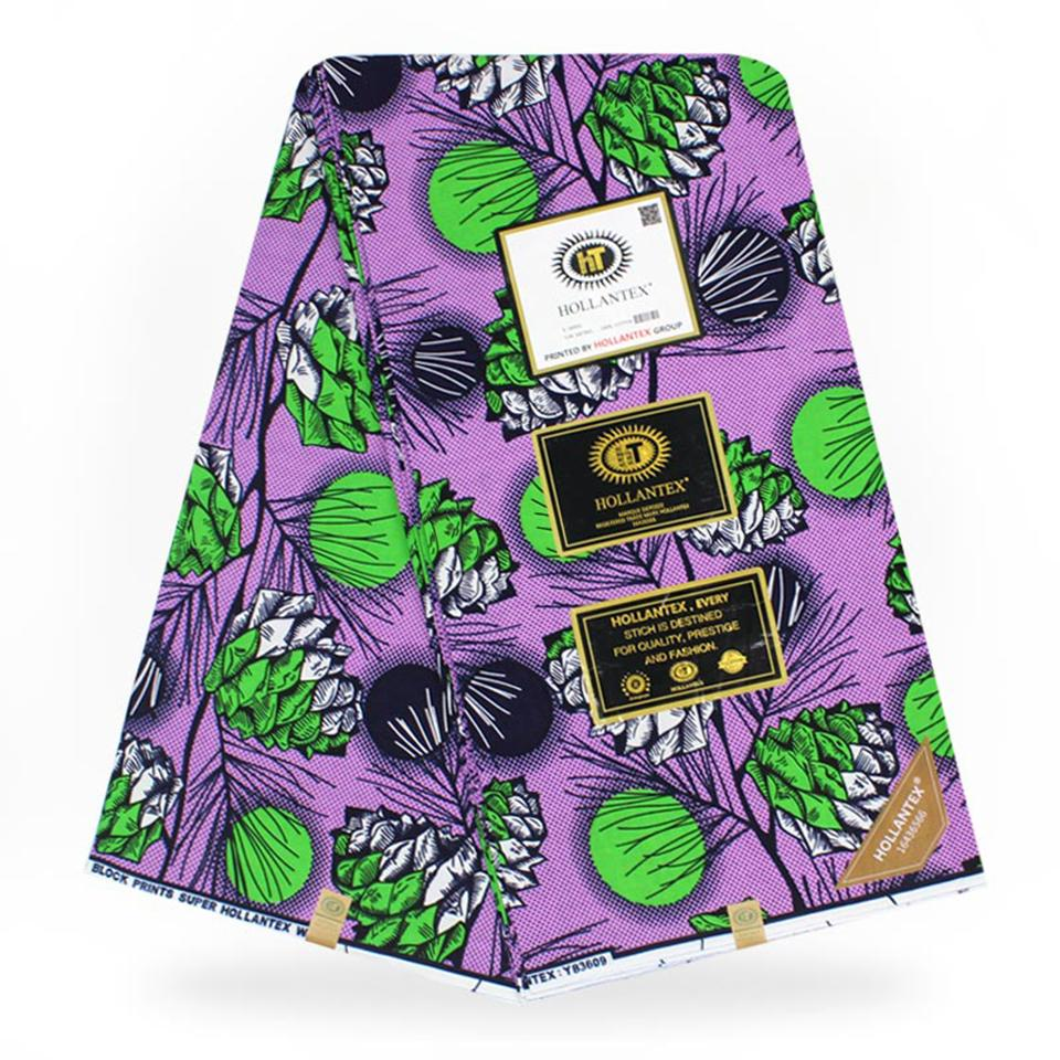 YBGW-113 Purple &Green African Fabrics Block Wax Print Ankara/Kitenge/Pagnes/Kikwembe For Dressmaking 6yards - EM