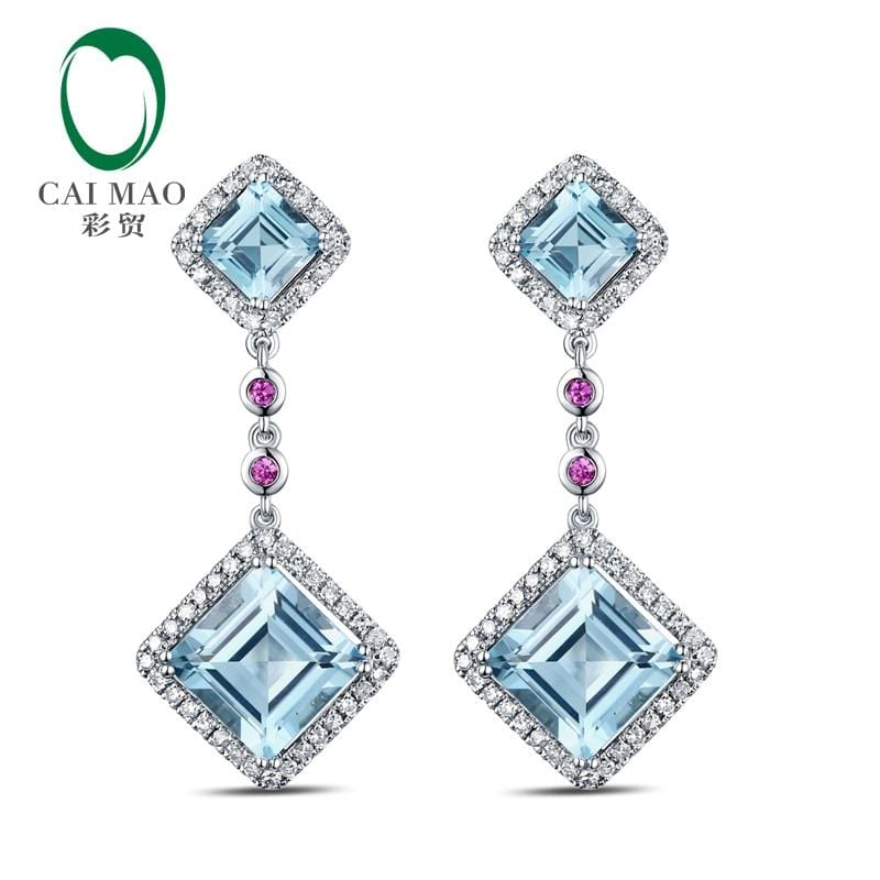 Lovely Drop Earrings 14K White Gold 7.52ct Natural Sky Blue Topaz Diamonds Pink Ruby Engagement Earrings