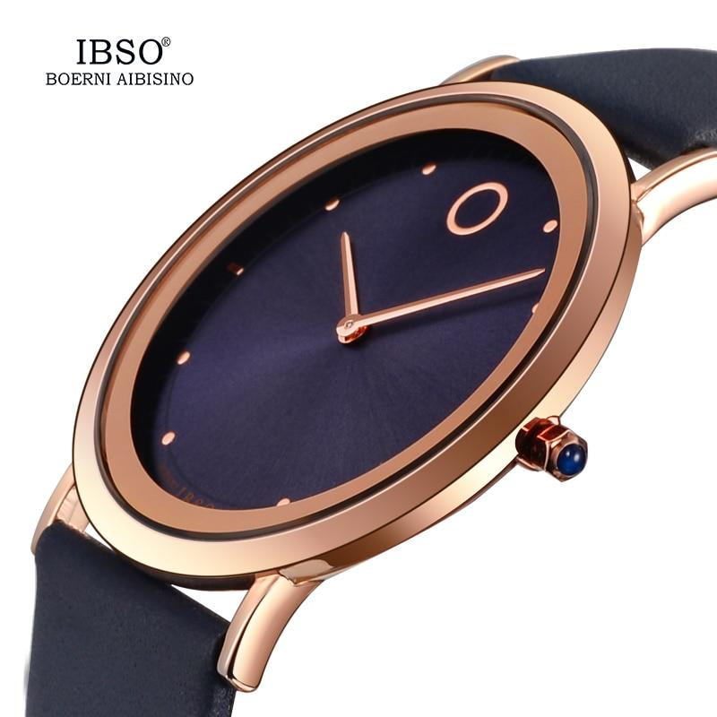 IBSO 7.6MM Ultra Thin Women Watches Top Brand Luxury Quartz Watch Ladies Leather Wrist Watch Reloj Mujer 2019 Montre Femme #8160 - Express Monde