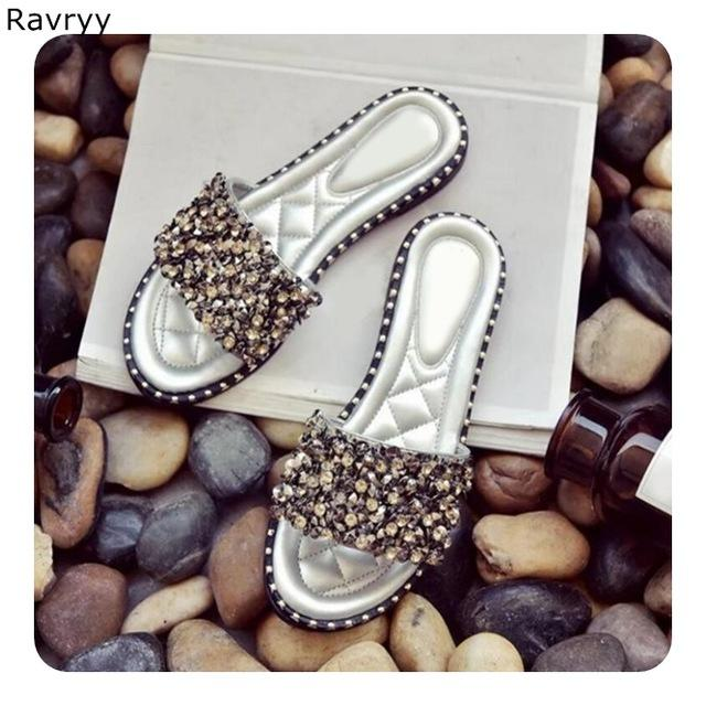 Summer hot sale woman sandals bling bling rhinestone decor silver slides slip-on flats flip flops female shoes beach shoes - EM