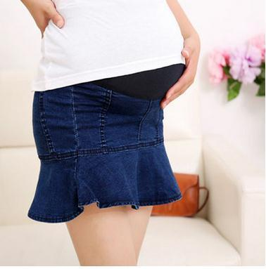 2019 Elastic Waist Denim Maternity Skirts Spring and Summer Jeans Clothes for Pregnant Women Ruffles Pregnancy Skirts SH-7310 - EM