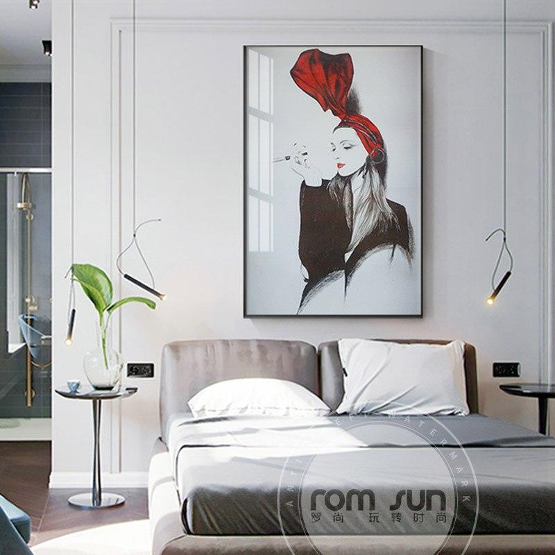 Modern Abstract Painting  Beauty Lady Picture Art Decoration Home Decor Modular Painting flowerTriptych Tableau Print Frameless