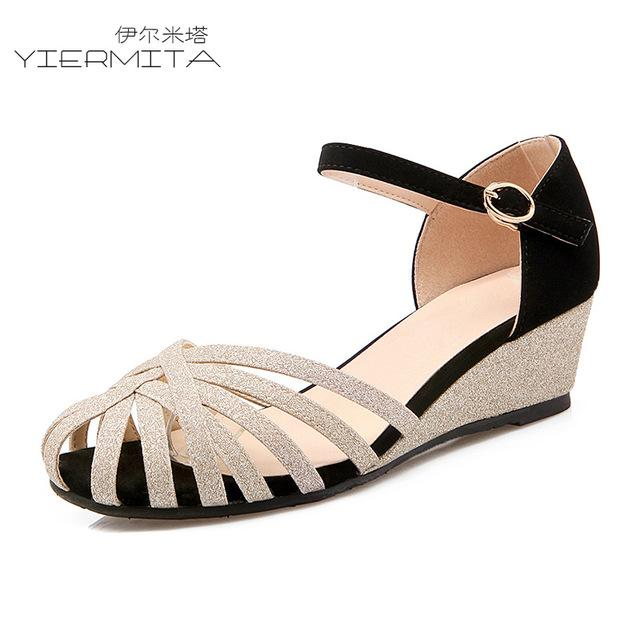 Baotou Wedge Sandals Female Summer Low-heeled Buckle With Roman Shoes Hollow Comfortable Large Size Women's Shoes - EM