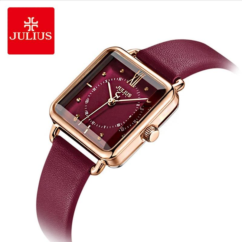 Julius Brand Lady Retro Red Square Leather Watch Woman Casual Waterproof Quartz Dress Wristwatches Clock Montre Femme Gift - Express Monde