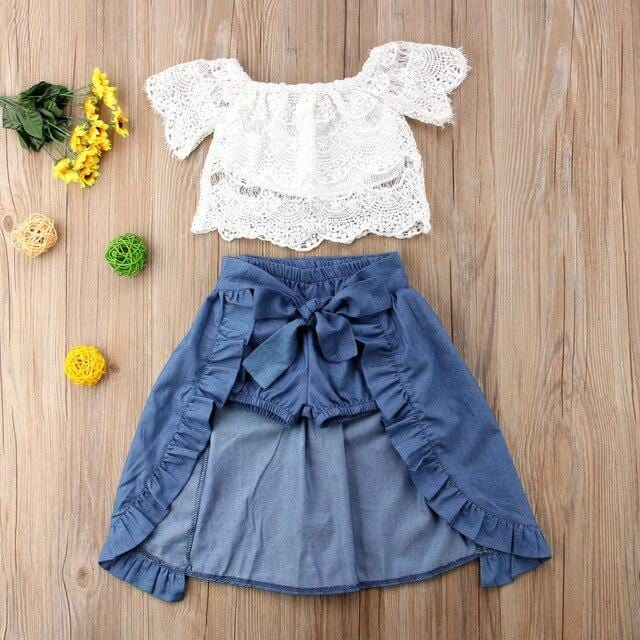 Newborn Girl Kid Lace Off shoulder Solid T-shirt Top Pants Bowknot Dress Party Outfits Clothes Casual Short Sleeve Clothing