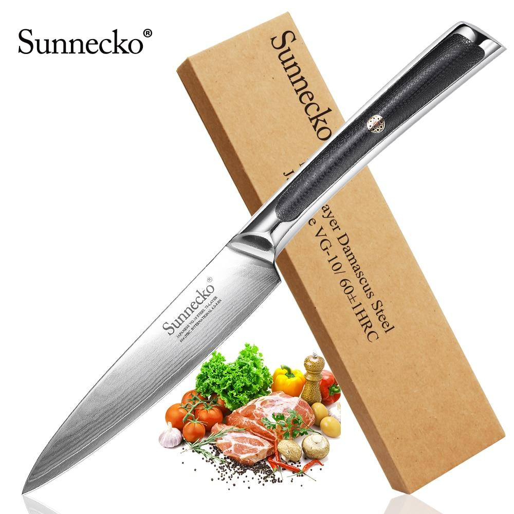 "Sunnecko New 5"" inch Utility Knife Japanese VG10 Steel Razor Sharp Blade Damascus Kitchen Chef Knives G10 Exquisite Handle - EM"