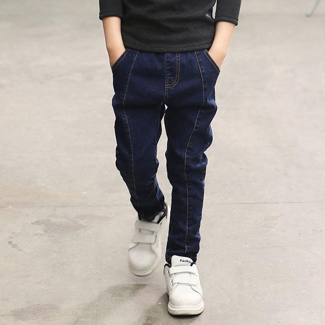 IENENS 5-13Y Fashion Boys Slim Straight Jeans Young Boy Casual Trousers Kids Baby Children Denim Long Pants Solid Color Jeans - EM