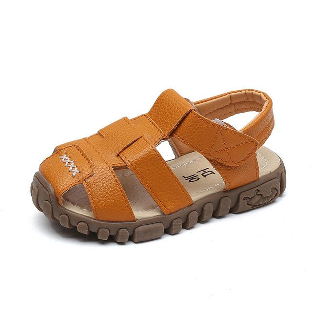 leather boys sandals 2019 100% soft leather in summer the new boys and girls children beach shoes kids sport sandals princess - EM