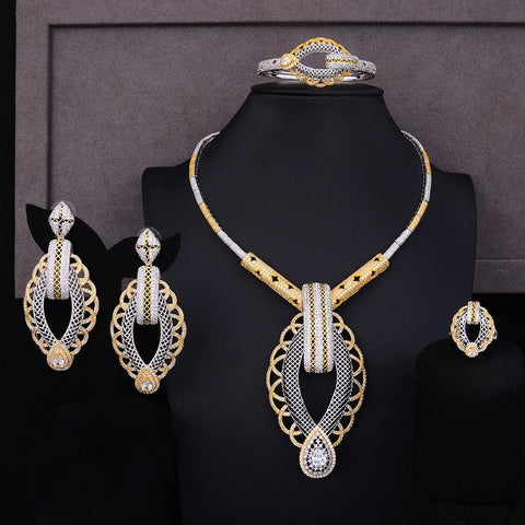 GODKI Luxury Party Square 4PCS Nigerian Jewelry Set For Women Wedding Zircon Indian African Bridal Jewelry Set 2018